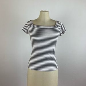 Anthropologie Postmark Stripe Off Shoulder Top